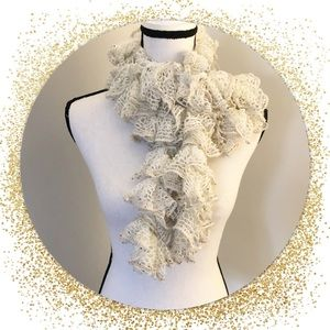White Ruffled Scarf with Multicolor Sequins